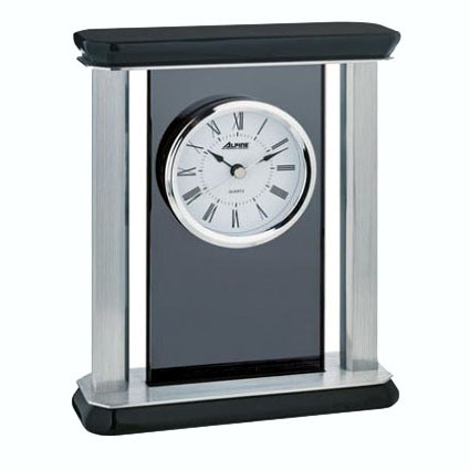 Glass & Metal Desk Clock